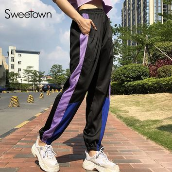 Sweetown Plus Size Casual Joggers Streetwear High Waist Sweatpants Loose Capri Pants Women Patchwork Harajuku Cargo Trousers