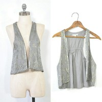 Embroidered Gray Vest | Beaded Sequined Vest