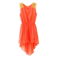 Summer Womens Asymmetric-Hem Multilevel Flouncing Chiffon one-Piece Dress Short