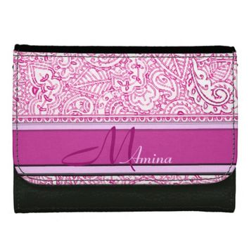 Paisley Passion - Pink (Henna) (Monogram) Wallet For Women