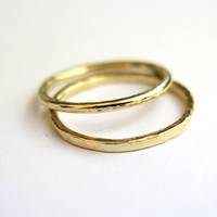 Modern Gold Stacking Ring - One Wedding Gold Ring - 1.4mm Band Ring - 9K Solid Gold Ring - Organically Shaped - Handmade - Free Shipping