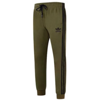 Adidas Fashion New Embroidery Letter Leaf Stripe Leisure Sports Women Men Thick Keep Warm Pants Green