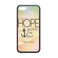 Vintage Retro Anchor Apple Iphone 5C Case Cover TPU Laser Technology Hope Ahchors The Soul Hebrews 6:19 Quotes Water