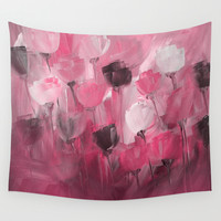 Rose Garden in Shades of Peachy Pink Wall Tapestry by Jenartanddesign