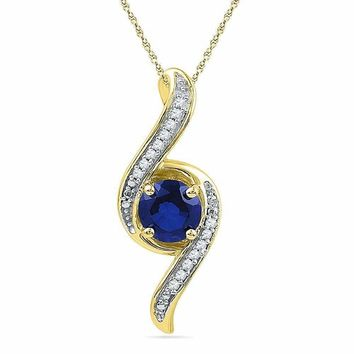 10kt Yellow Gold Women's Round Lab-Created Blue Sapphire Solitaire Diamond Pendant 1.00 Cttw - FREE Shipping (US/CAN)