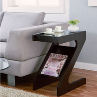 Modern Side Table Tempered Black Glass Top Slanted Single Rack Cappuccino Finish
