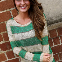 Bold Green Striped Sweater | The Rage