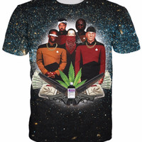 Star Trap T-Shirt Star Trek Weed Leaf Galaxy t shirt summer style tops chemise C