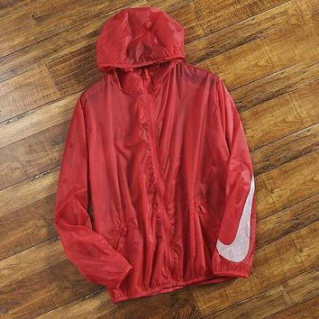 NIKE hot style sunscreen sleeve logo printing ultra-thin outdoor leisure sports hooded lovers skin clothing for both men and women