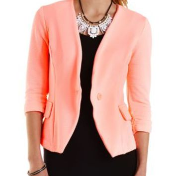 Neon Coral Ribbed Neon Collarless Blazer by Charlotte Russe