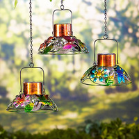Hanging Solar Garden Lamp Stained Glass Look Butterfly Dragonfly Hummingbird