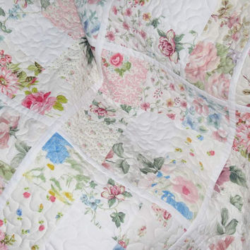 Shabby Chic Lap Throw or Baby Quilt, Pastel Floral Vintage Sheets