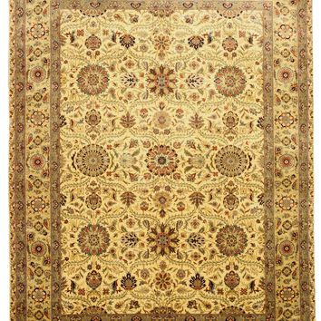 EORC Hand-knotted New Zealand Wool Ivory Traditional Oriental Tabriz Rug