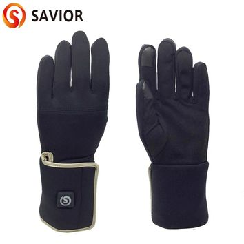 Savior smart battery heated glove liner for riding biking golf fishing outdoor sports 3 levels control 3-8 hours heating
