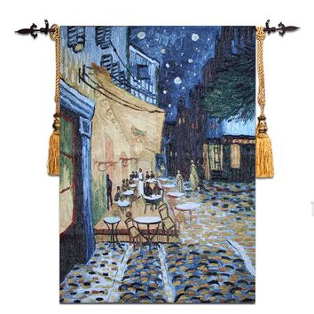 Vincent van Gogh [Night Coffee Shop] Wall Tapestry Wall Hanging Gobelin Moroccan Decor Decorative Wall Cloth Tapestries Medieval