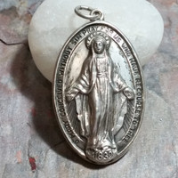 Vintage Catholic Medal Sterling Silver Mary Chapel Sterling Mary Medal O Mary Conceived without sin Pray for Us Who Have Recourse to Thee