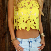 Neon Flower Cut Out Top - FINAL SALE