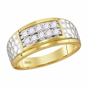 10kt Yellow Gold Mens Round Diamond Cluster 2-tone Hammered Wedding Band Ring 1/2 Cttw