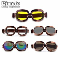 ac NOOW2 High Quality Motorcycle Goggles Retro Flying Scooter Aviator Helmet Glasses Outdoor Sports Eyewea Vintage Motorbike Glasses
