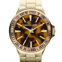 Michael Kors Mid-Size Golden Stainless Steel Gramercy Three-Hand Glitz Watch - Michael Kors