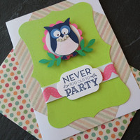Handmade Happy Birthday Greeting Card, Great for a Woman, Coworker, Mother, Sister, Aunt, Grandmother, Scrapbook Paper, Owl Character
