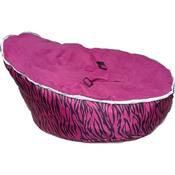 Babybooper Beanbag Soft Baby Cozy Baby Sitting Chair Nursery Pillow Safe (Booper Hot Pink Zebra Black Stripes)