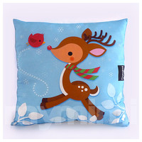 Christmas Decor, Christmas Pillow, Christmas Reindeer Pillow, Santa's Reindeer, Holiday Pillow, Animal Pillow, Kawaii Pillow, 16 x 16""