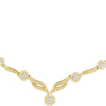 """14kt Yellow Gold Womens Princess Diamond Soleil Cluster Luxury 18\"""" Necklace 1.00 Cttw"""