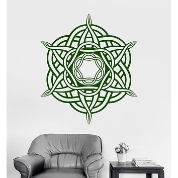 Vinyl Wall Decal Celtic Cross Ireland Irish Ornament Pattern Art Stickers Unique Gift (ig3581)