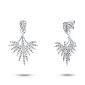 0.44ct 14k White Gold Diamond Ear Jacket Earring with Studs