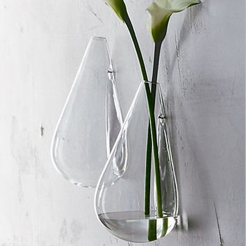 Hanging Glass Flower Vase 10*18cm Wall Water Drop /Transparent