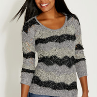 marled pullover sweater with wavy stripes and metallic shimmer