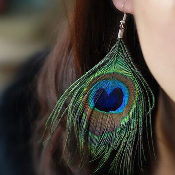 New Fashion accessories jewelry peacock feather dangle drop earring Valentine's Day gift  for women E2545