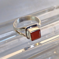 Modernist Red Carnelian Solid Sterling Silver 925 Asymmetrical Ring Size 5.75