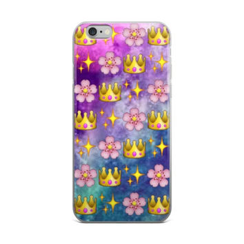 Glowing Stars Flower & Princess Crown Emoji Collage In Space Teen Cute Girly Girls Tie Dye iPhone 4 4s 5 5s 5C 6 6s 6 Plus 6s Plus 7 & 7 Plus Case
