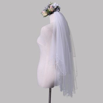 Wedding Veils with Bead Edge Soft Bridal Illusion Ivory Two-layer Bridal Wedding Accessories Veils