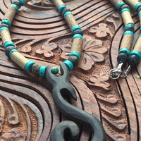 TRIBAL SPIRAL Hazelwood and Baltic Amber with Turquoise Heishi Beads Necklace Earthy Energy