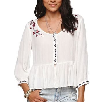 Kendall & Kylie Embroidered Button Down Shirt - Womens Shirts - White -