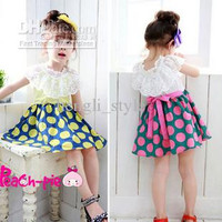 5pcs/ lot Girls Summer Sweet Dress Set New Large Lace Collar Children Dots Dress Baby Clothes Kids' Lace Dress Yellow and Pink Dots