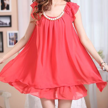 Beaded Ruffled Chiffon Sleeve With Belt Casual Mini Dress