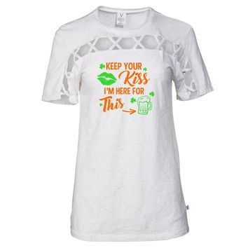 Keep Your Kiss... St. Patrick's Day Tee - STPATS08 Women's Criss Cross Cut Out Chest T-Shirt