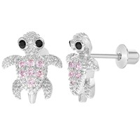 Rhodium Plated Pink Crystal Small Turtle Earrings with Screw Backs for Girls