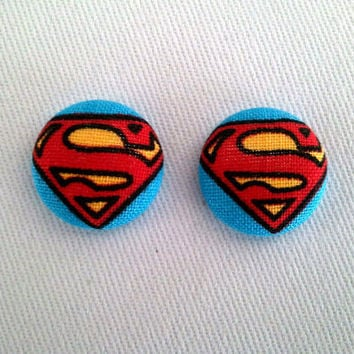 Superman button earrings by ButtonUpp on Etsy