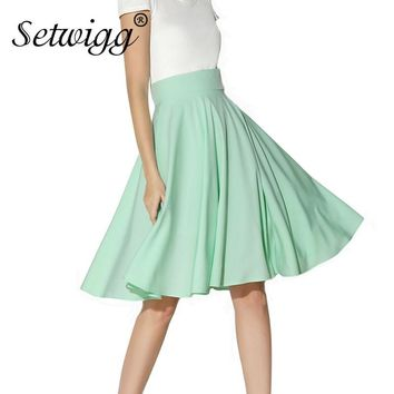 SETWIGG Womens Polyester Pleated & Flared Summer Knee Length Skirts High Waisted Candy Mint Green Lush Skater Midi Skirt SG2073