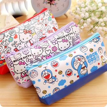 Korean stationery Kawaii Hello kitty pencil case for girls Cute Doraemon PU leather pencil pouch pen bag office school supplies