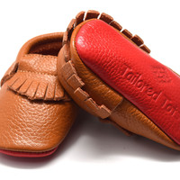 Carmel Apple- Leather Baby Moccasins