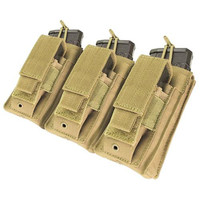 Triple Kangaroo Magazine Pouch holds (3) M4-M16 Mag, (3) Pistol Mag - Color: Tan