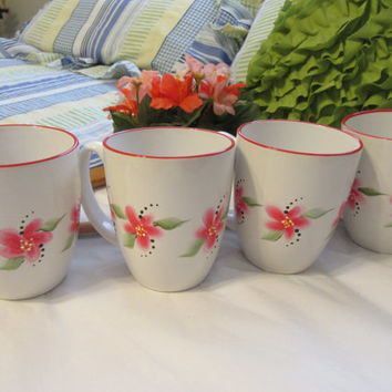 Hand Painted Red Floral Corelle Stoneware Classic Cafe White -  Red Rimmed Coffee Tea Mugs Cups - SET of 4 - Great Gift Idea