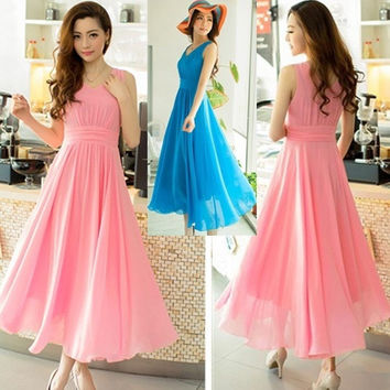 S-XXL Bohemia sexy v-neck sleeveless pleated chiffon slim women's fashion falbala summer solid color beach long dress QZ041 = 1946369796