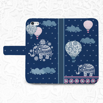 Elephant Balloon iPhone/smartphone flip leather Wallet case for iPhone 6, 6 plus, 5, 5s, 5c, iPhone 4, 4s- Samsung GalaxyS5 S4 S3, Note 3, 4